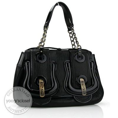 Fendi Black Nappa/Patent Leather B Bag