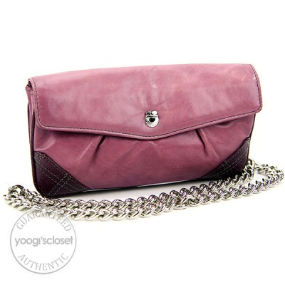 Marc Jacobs Lavender Leather Mixed Quilted Shoulder Pouch Bag