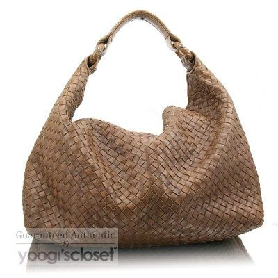 Bottega Veneta Bark Sloane Woven Hobo Bag