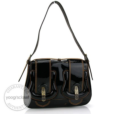 Fendi Black Patent Leather Shoulder B Bag