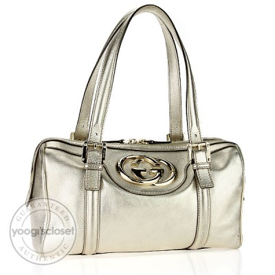 "Gucci Gold Metallic Leather ""Britt"" Medium Boston Bag"