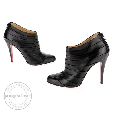 Christian Louboutin Black Pleated Leather Orniron 100 Seta Calf Ankle Boots Size 9.5
