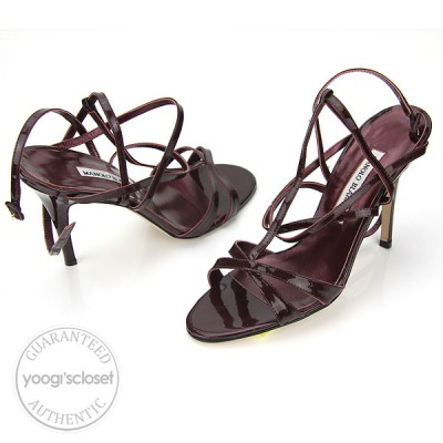 Manolo Blahnik Wine Patent Leather Strappy Heel Sandals Size 8/38.5