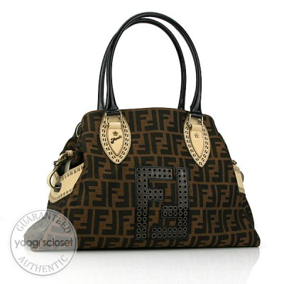 Fendi Tobacco Zucca Studded Medium Bag Du Jour