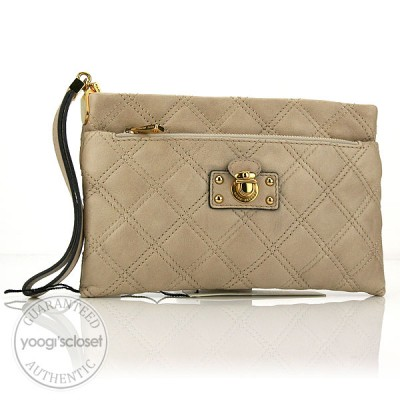 Marc Jacobs Beige Quilted Handy Wristlet/Clutch Bag