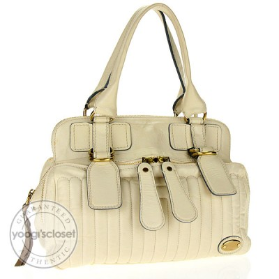 Chloe Cream  Leather Quitled Bay Bag