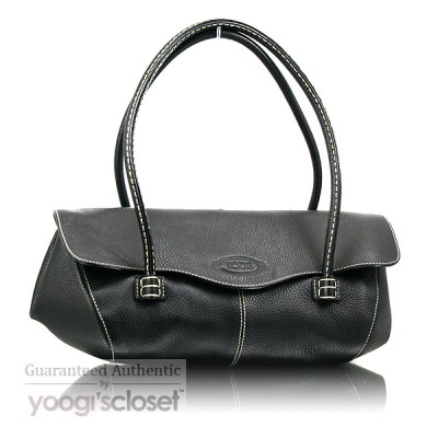 Tod's Black Leather Corniche Wave East-West Shoulder Bag
