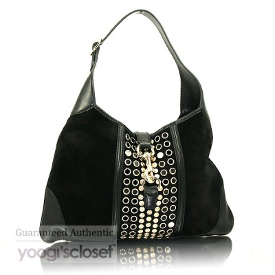 Gucci Black Suede Jackie O Bouvier Studded Hobo Bag