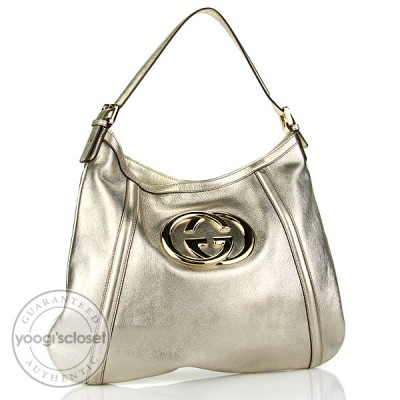 Gucci Gold Leather Britt Hobo Bag