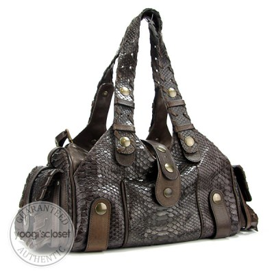 Chloe Dark Brown Python Small Silverado Bag