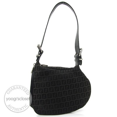 Fendi Black Zucchino Canvas Small Oyster Hobo Bag