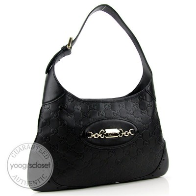 Gucci Black Guccissima Leather Medium Hobo Bag