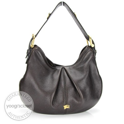 Burberry Dark Brown Leather Small Malika Hobo Bag
