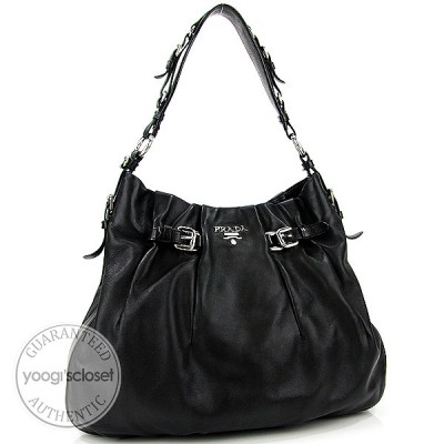 Prada Black Nappa Leather Cervo Shoulder Bag