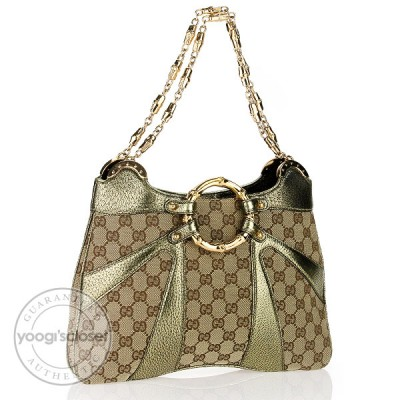 Gucci Limited Edition Biege/Ebony GG Canvas Tom Ford Bamboo Shoulder Bag