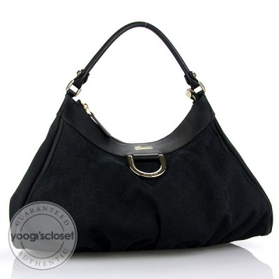 Gucci Black GG Fabric D Ring Large Hobo Bag