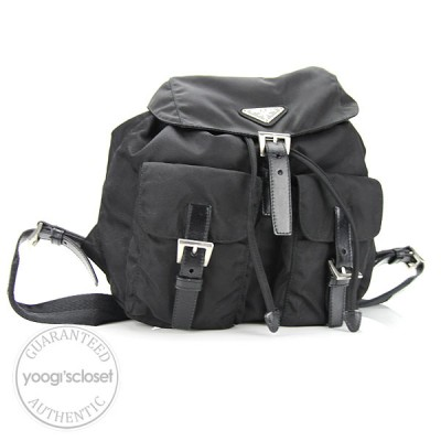 Prada Black Tessuto Nylon Backpack Bag