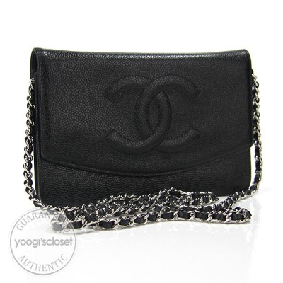 Chanel Black Caviar Leather Wallet-Clutch Bag