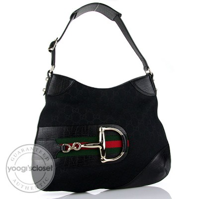 Gucci Black GG Fabric Horsebit Hobo Bag