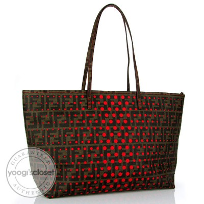 Fendi Perforated Zucca Spalmati Roll Large Tote Bag