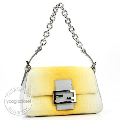 Fendi Silver/Yellow Zucchino Mini Mama Baguette Bag