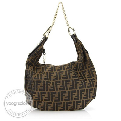 Fendi Tabacco Zucca Canvas Chef Chain Hobo Bag