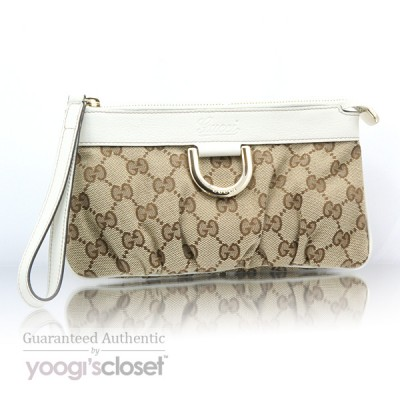 Gucci Beige GG Fabric D-Ring Wallet-Clutch Bag