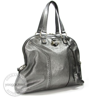 Yves Saint Laurent Pewter Leather Oversized Muse Bag