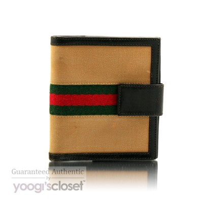 Gucci Beige Signature Stripe Wallet