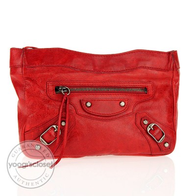 Balenciaga Rouge Vif Trousse Maquillage Small Clutch Bag