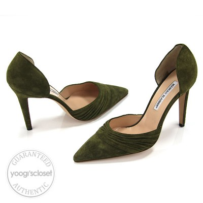 Manolo Blahnik Olive Green Suede D'Orsay Heels Size 39/8.5