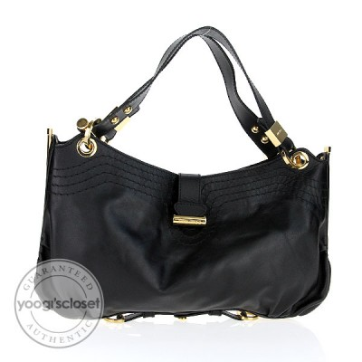 Jimmy Choo Black Calfskin Leather Adele Shoulder Bag