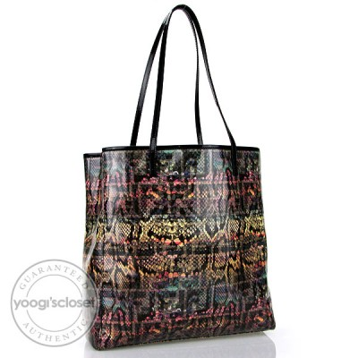 Fendi Multicolor Zucca and Snakeskin Print Patent Leather Shopper Tote Bag