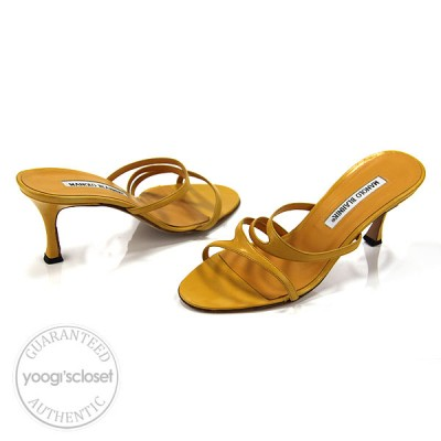 Manolo Blahnik Yellow Leather Sandals Heels Size 36/5.5