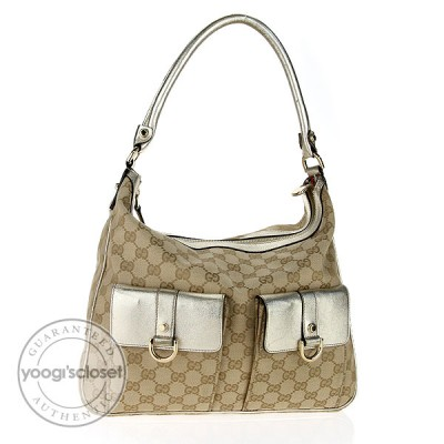 Gucci Beige GG Fabric D Gold Multipocket Hobo Bag