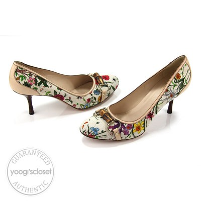 Gucci Floral Fabric Horsebit Beige Leather Heels Size 9.5