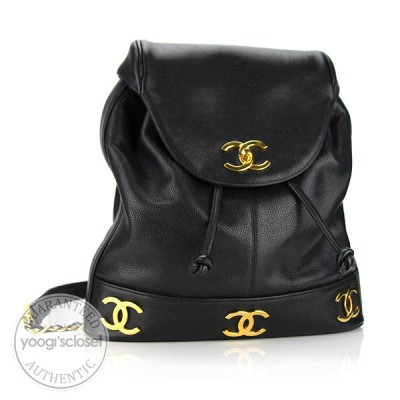 Chanel Black Caviar Leather Logo Backpack Bag