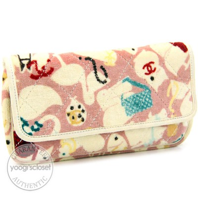 Chanel Pink Multicolor Terry Animal Wallet Clutch Bag