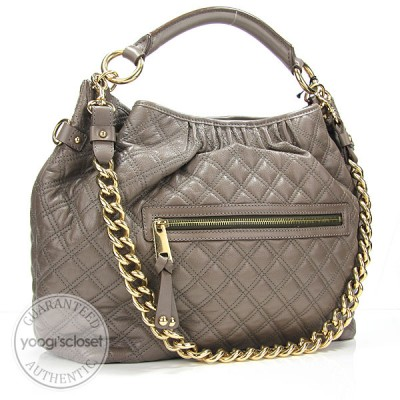 Marc Jacobs Mouse Brown Quilted Calfskin Leather Hobo Stam Bag