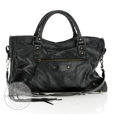 Balenciaga Black Lambskin Motorcycle City Bag