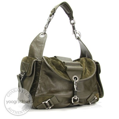 Christian Dior Khaki Green Leather/Suede Rebelle Hobo Bag