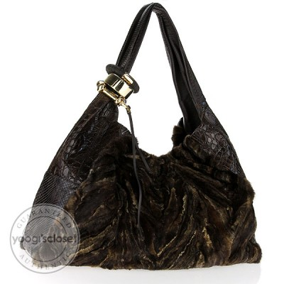 Jimmy Choo Mink and Exotic Skins Saba Large Hobo Bag