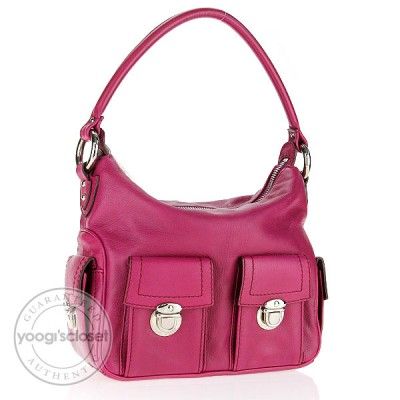 Marc Jacobs Magenta Leather Small Multipocket Hobo Bag