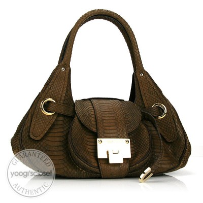 Jimmy Choo Brown Python Rianne Bag