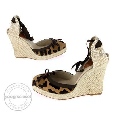 Christian Louboutin Leopard Print Pony Hair Carino Plato 120 Espadrille Wedges Size 8.5