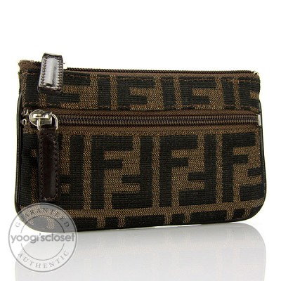 Fendi Tobacco Zucca Canvas Small Zippered Accessory Pouch
