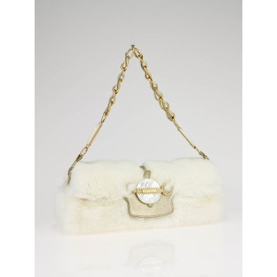 Jimmy Choo White Rabbit Fur Clutch Bag