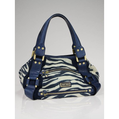 Jimmy Choo Blue Zebra Striped Calf Hair Leather Mahala Bag