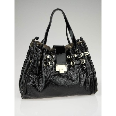Jimmy Choo Black Patent Leather and Shearling Trim Riki Tote Bag