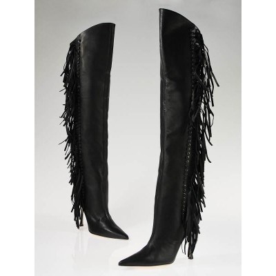 Jimmy Choo Black Leather Fringe Over-the-Knee Boots Size 8.5/39